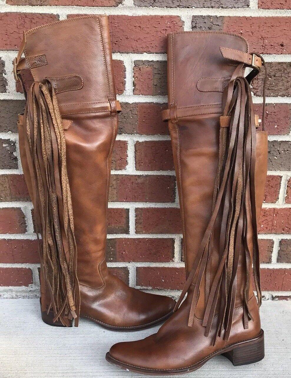 MARIANO RENZI Women's Brown Leather Sz 38 Boots 8535