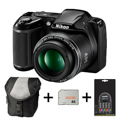Nikon Coolpix L340 - Black + Case + 32GB Memory Card + 4xAA Battery and Charger