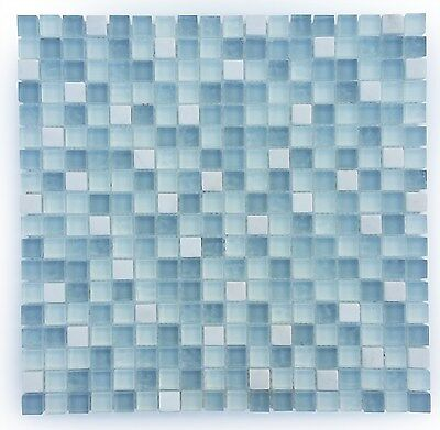 Light Blue and White Small Glass and Stone Mosaic Tile for Bathroom, Backsplash