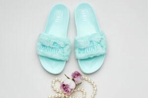 san francisco 7e3ed 59293 Details about Fenty Puma Faux Fur Slides Blue(Bay) Size 7.5