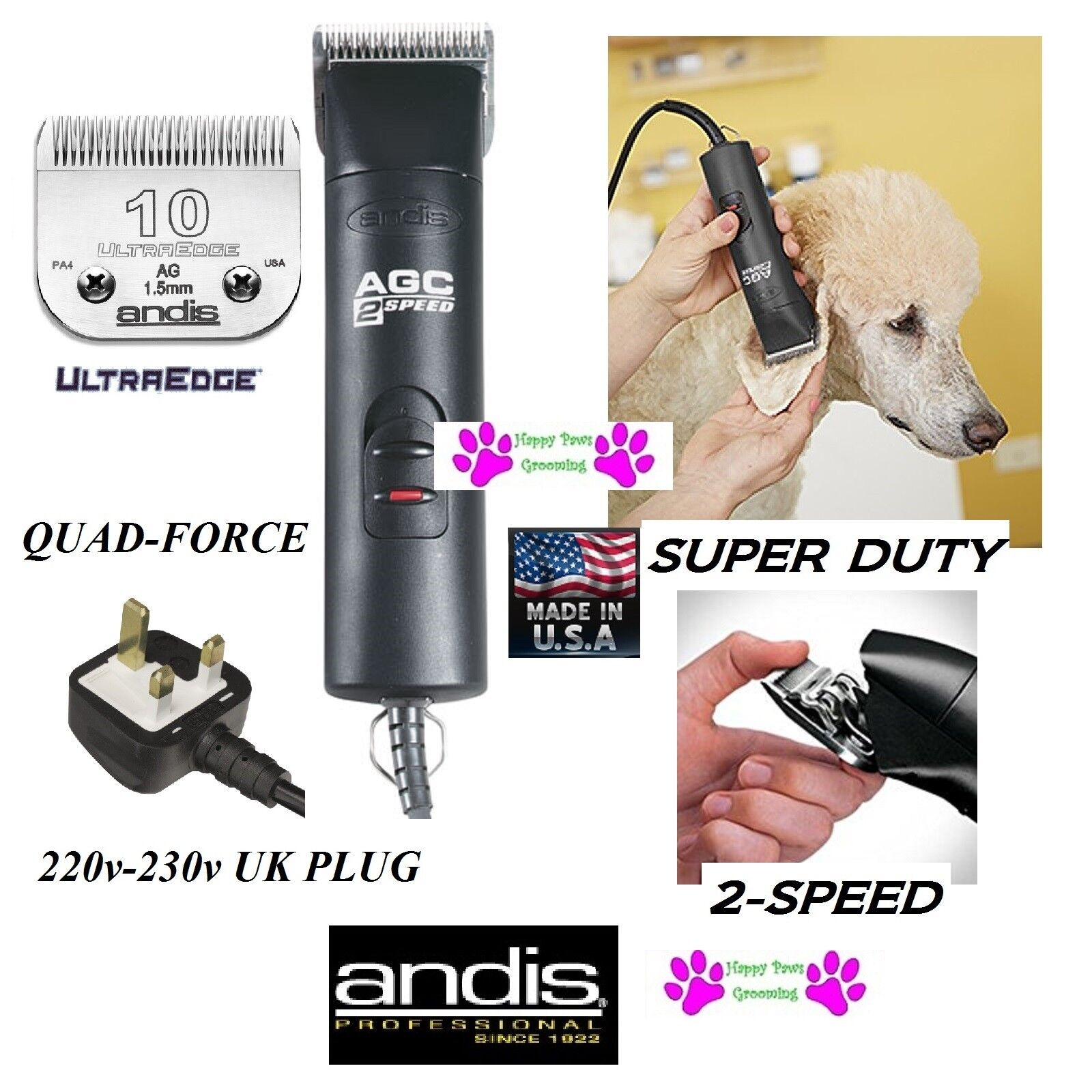 Andis 220-230 Volt UK Plug AGC SUPER-DUTY 2-Speed CLIPPER SET&UltraEdge 10 Blade