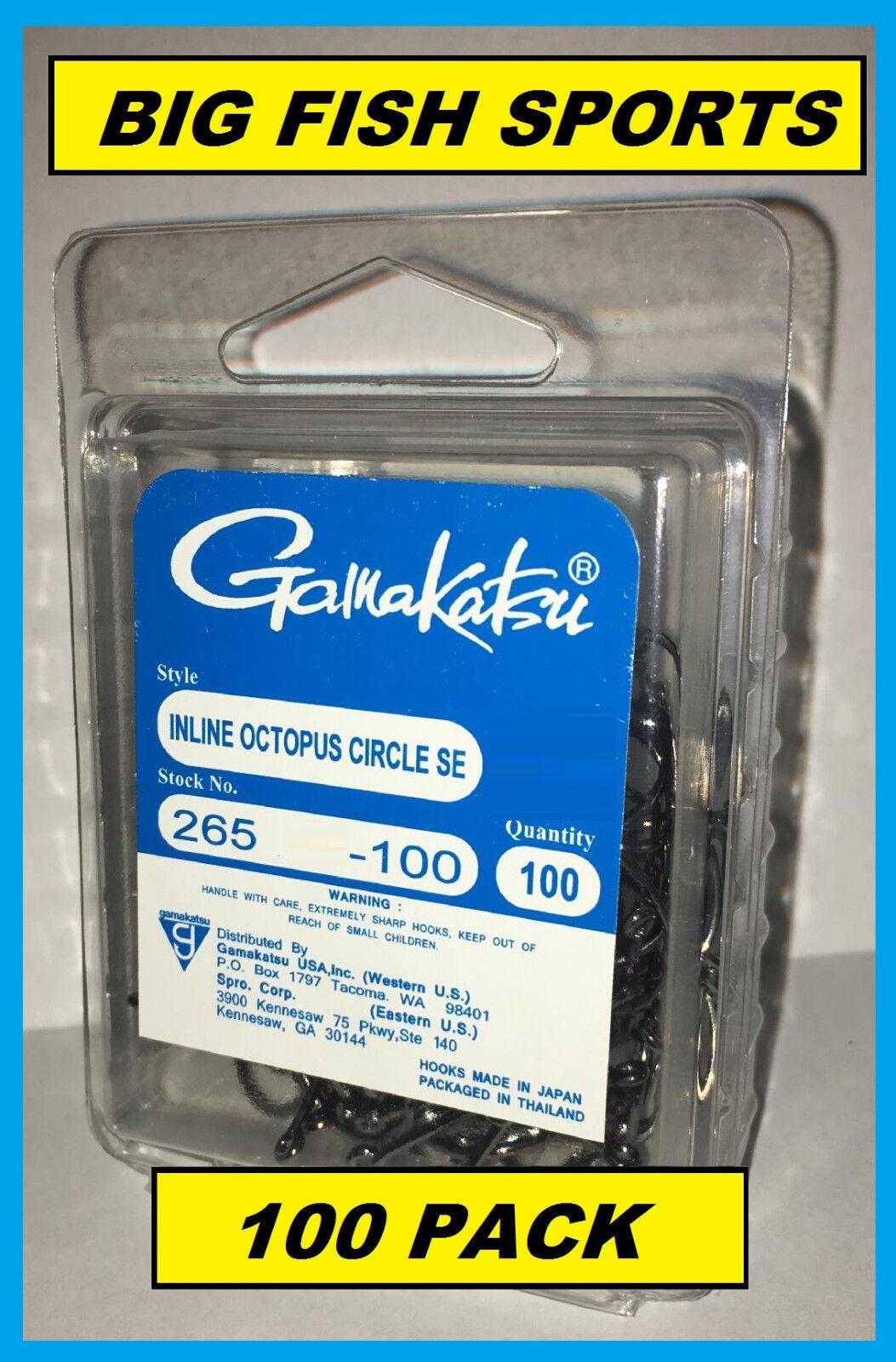 GAMAKATSU #265 INLINE OCTOPUS CIRCLE SE HOOK 100 Hook Pack 3//0 #265413-100 NEW!