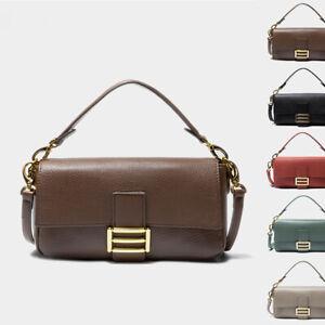 3-Straps-Real-Leather-Small-Shoulder-Bag-Purse-Baguette-Crossbody-Bag-Top-Handle