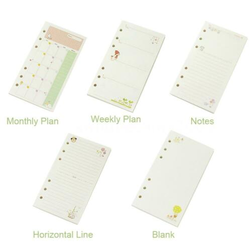 Loose Leaf Ring Notebook Refill Monthly Weekly Planner Inner Page 45 Sheets U8T8