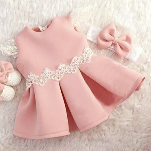 6M-4Y Summer Toddler Girls Lace Fly Sleeve Bow Dress Clothes Princess Dresses