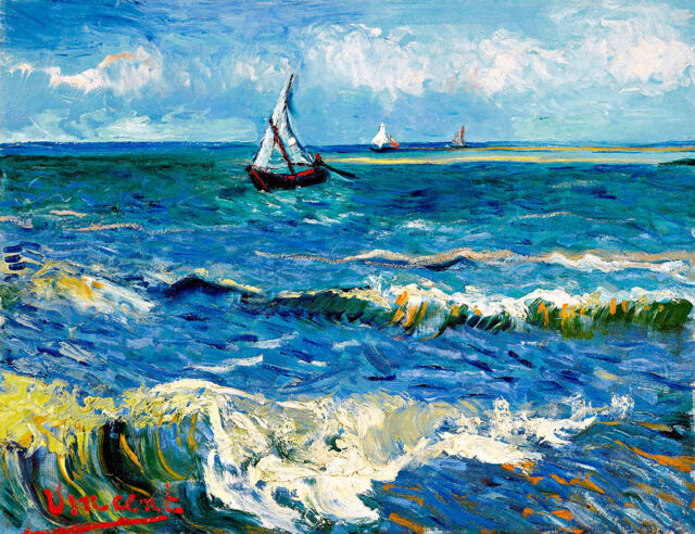 Seascape near Les Saintes Maries de la Mer A1+ by Vincent van Gogh Canvas Print