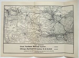 Great-Northern-Railroad-amp-CBQ-Original-1907-Dated-Route-Map