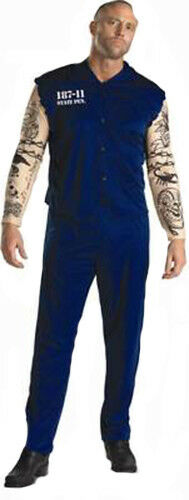 TATTOOED CONVICT PRISONER MENS ADULT FANCY DRESS 38-40