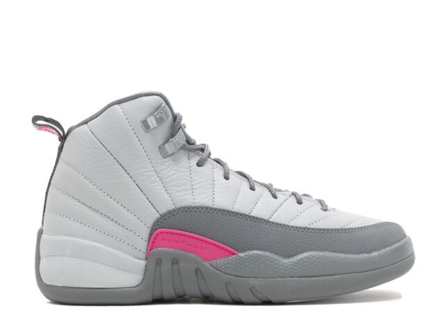 c24bd022d601b7 Nike AIR JORDAN 12 RETRO GG Wolf Grey Vivid Pink Grey 510815-029 Kids Youth