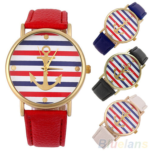 Cute Women Men Useful Multi-Color Striped Anchor Faux Leather Quartz Wrist Watch