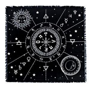 Constellation Tarot Table Card Cloth Divination Velvet 60x60cm Black Square