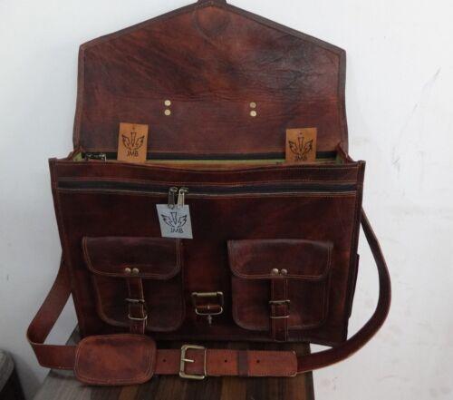 """Brown Leather Briefcase Satchel Laptop Messenger Shoulder 18/""""Bag JMB TradeMark"""