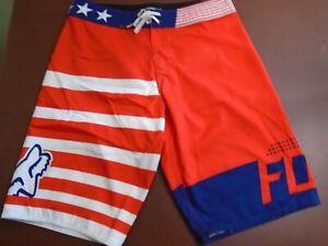 f2f0af6386 NEW Men's FOX All Day Board Short 30 Red White Blue Beach Surf Wear ...