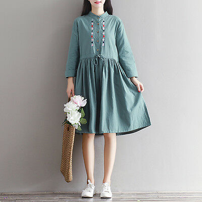 Japanese Mori Girl Vintage Embroidery Loose Autumn Cotton Slim Long Sleeve Dress