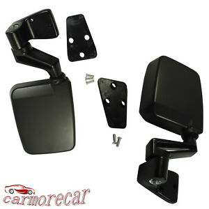 Black Manual Side View Door Mirrors Left Right Pair Set for 87-02 Jeep Wrangler