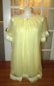Vintage-Sheer-Chiffon-Baby-Doll-Short-Teddie-Yellow-Lace-Nightie-Nightgown
