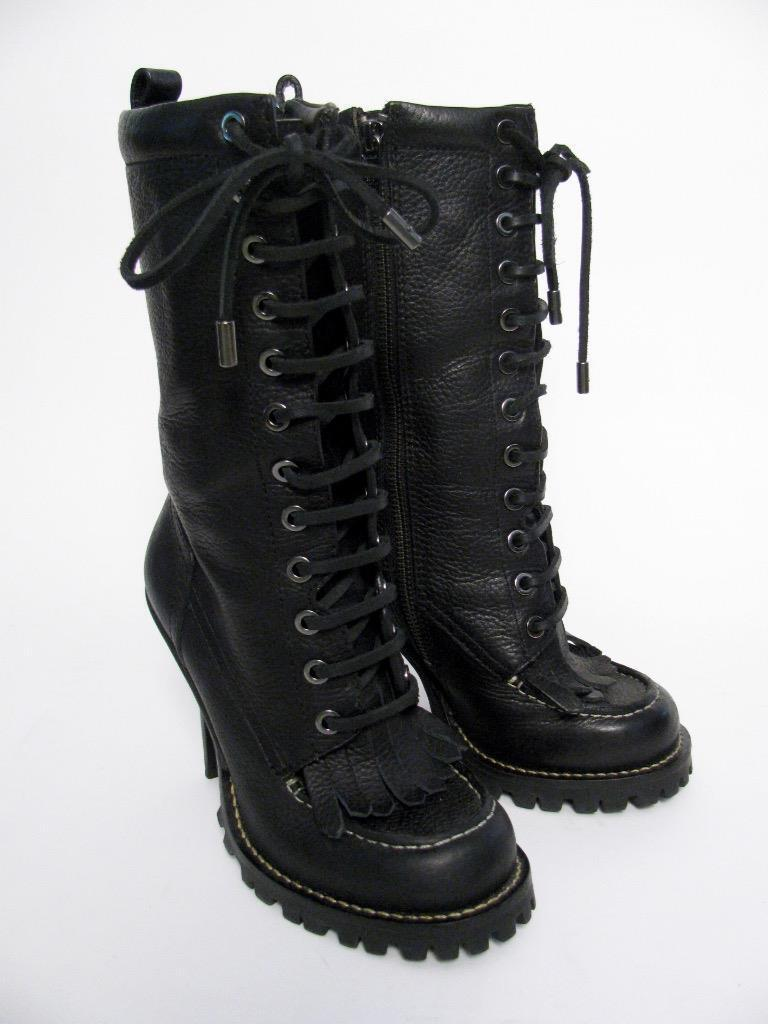 NEW  425 TORY BURCH BLACK LEATHER 'TRIGG' LACED SPIKE HEEL FRINGED BOOTS SHOE5