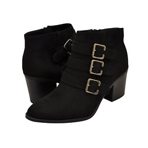 f8ae7627d1cf Details about Women s Shoes Soda SCHOOL-S Chunky Heel Buckle Ankle Booties  BLACK  New