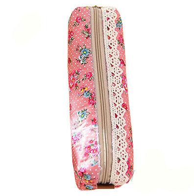 Unique Flower Floral Lace Pencil Pen Case Cosmetic Makeup Bag Zipper Pouch