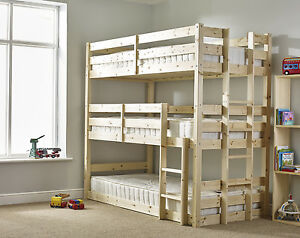 new style da635 7dc84 Details about Pandora 3ft Single 3 Tier HEAVY DUTY Solid Pine Triple  Sleeper Bunk Bed (EB17)