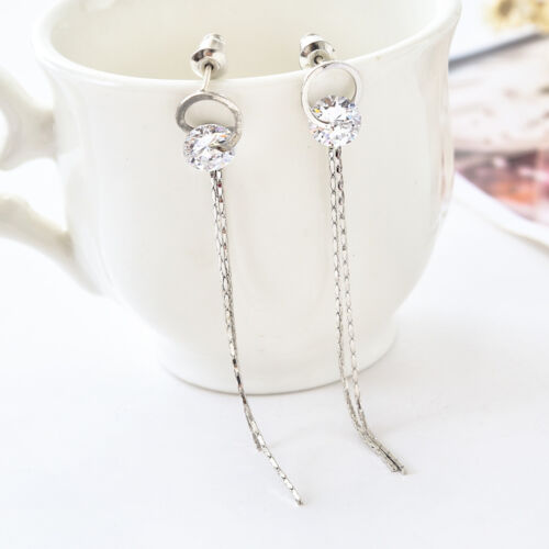 New 925 Sterling Silver Lady Crystal Lab Diamond Long Tassel Drop Stud Earrings