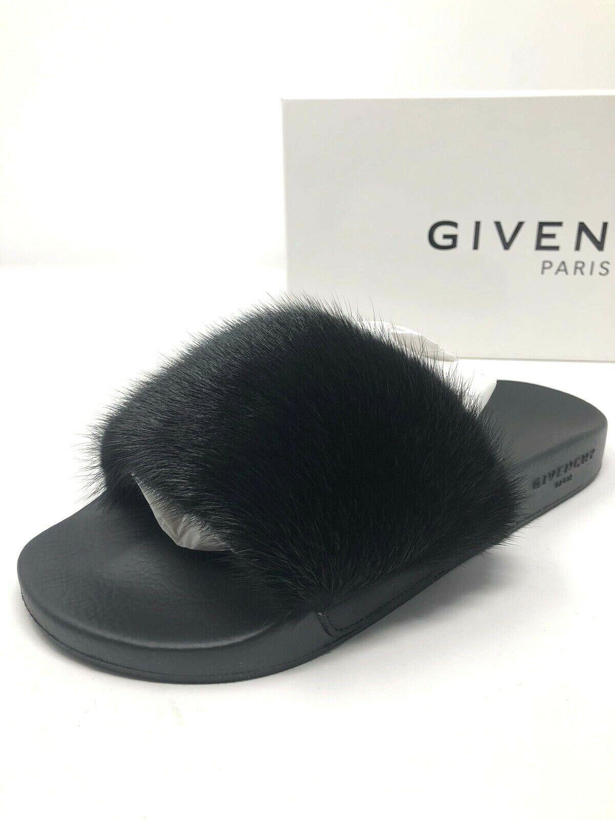 550 Nueva Givenchy Para Mujer Mujer Mujer negro de piel de visón diapositivas Pantuflas Zapatos De Las Señoras Talla 7 37  precio al por mayor