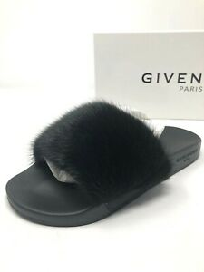 550 New Givenchy Womens Black Mink Fur Slides Slippers Ladies Shoes ... a785a73c0