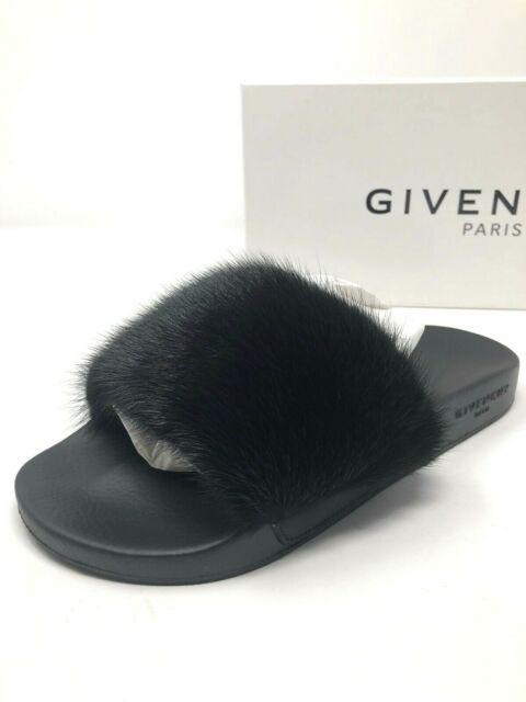 a4e06e606 $550 New Givenchy Womens Black Mink Fur Slides Slippers Ladies Shoes Size 7  37