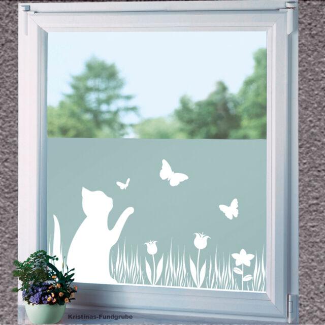 Sichtschutzfolie Katze mit Schmetterlingen und Blumen Fensterfolie selbstklebend
