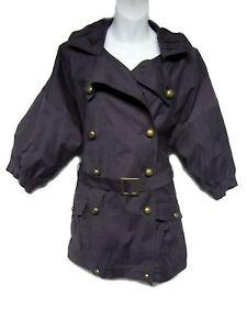 HAYDEN-HARNETT-Yvonne-Navy-Blue-Trench-Peacoat-Coat-Belted-Parka-Jacket-S