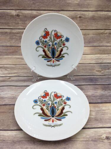"""Vintage Lot of 2 Floral 7.5/"""" Salad//Dessert Plates Swedish Berggren"""