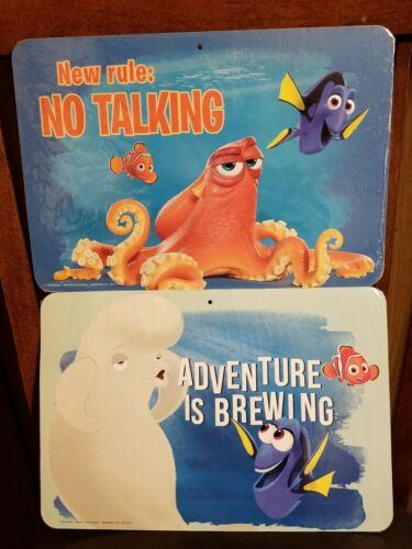 Lot of 2 Finding Dory Two-Sided Signs New Rule No Talking /& Adventure Is Brewing