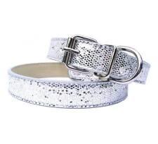 New Silver Luxury Sparkling Glitters Dog Collar PU Leather Bling Cat Pet Medium