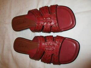 Clarks-76108-sandals-shoes-pink-leather-size-8-M-USED-EUC