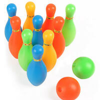 Newly Kids Plastic Bowling Ball Skittle Game Exercise Toys 10 Pins + 2 Balls