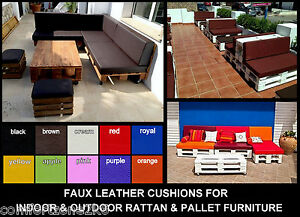 f4bfad854f75 Image is loading FAUX-LEATHER-CUSHION-INDOOR-PALLET-RATTAN-SOFAS-CANE-
