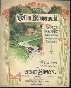 ERNST-SIMON-Tief-im-Boehmerwald-Walzer-uebergrosse-alte-Noten