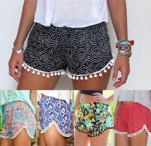 Summer-Women-Ladies-High-Waist-Casual-Floral-Beach-Hot-Pants-Shorts-Size-6-14-UK