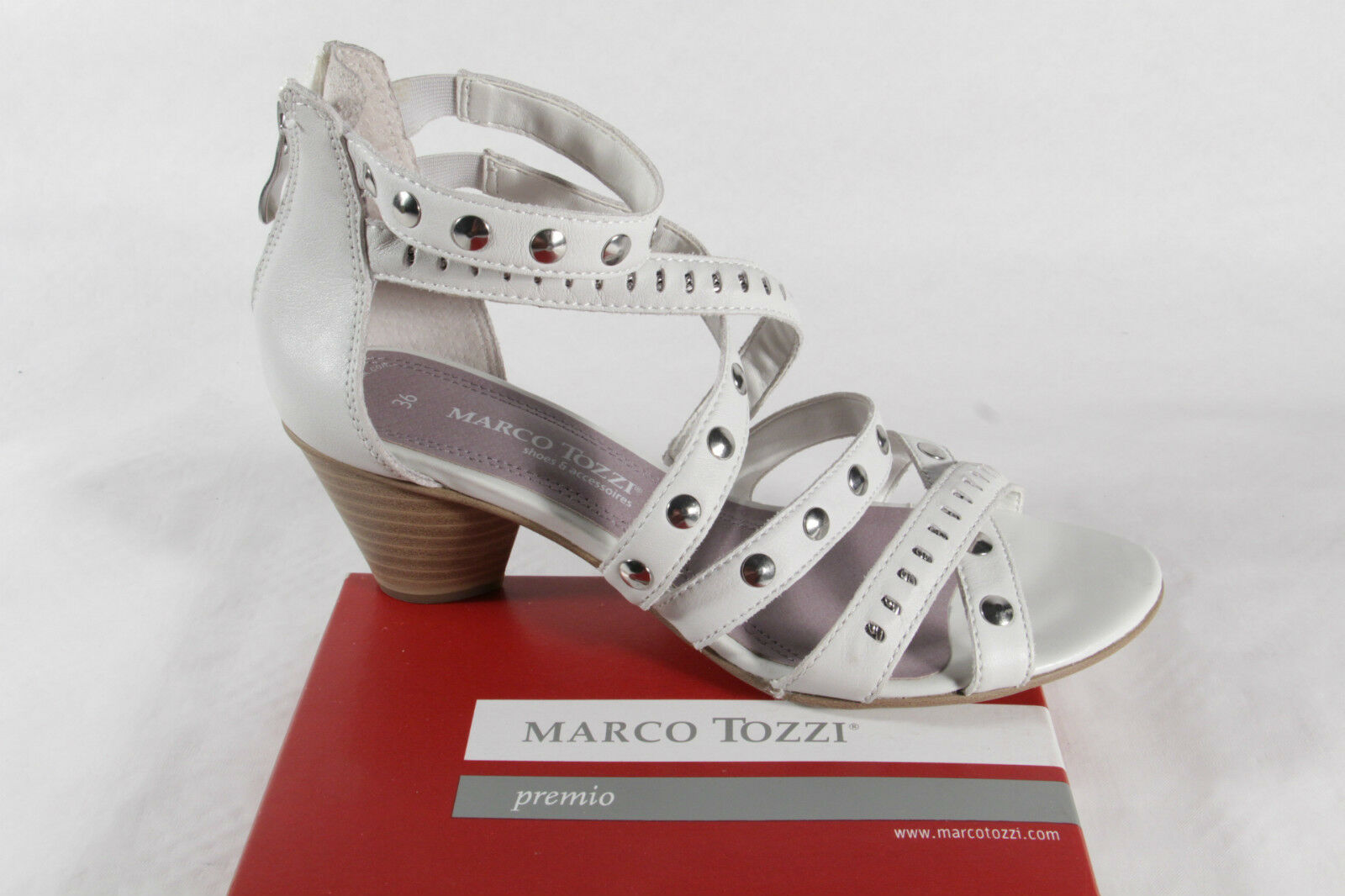 Marco Tozzi Women's Sandals, White Silver, Real Leather, Zip Rear New