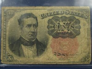Series-of-1874-Meredith-10-Cent-Fractional-Currency-Note-VG-Fine-Condition
