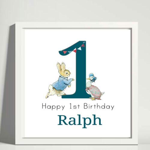 Peter Rabbit 1st Cumpleaños Personalizado Azul impresión de fotos de Marco de Caja de sake mantener