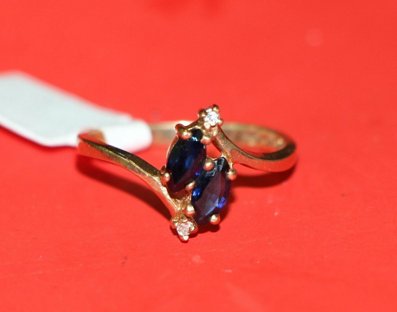 AI1 10K Yellow gold Promise RING bluee Sapphires Diamonds size 6.25 women promise