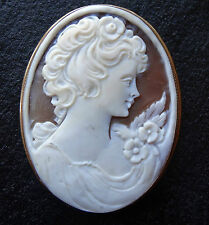 vintage 9ct GOLD carved pink shell cameo pendant or brooch flower lady K189