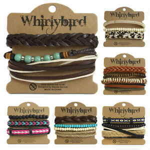 Details About Womens Stacker Leather Bracelet Stacking Wide Multi Row Layer Stack Wristband