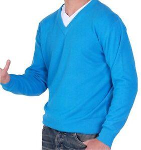 V Col 100 Bleu du Mer Hommes Sud Balldiri Cachemire Pull L waqwX4