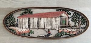 "Burwood MCM Vintage Large Wall Hanging Boy Fishing Homco Style Resin 35"""