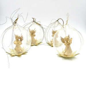 Details About West Germany Angels Christmas Ornaments Glass Globe Diorama Crinkle Wire Vintage