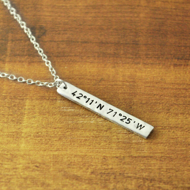Personalized vertical bar necklace, Hammered Coordinates necklace, Customized