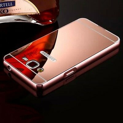 Aluminum Metal Mirror Case +PC Back Cover Skin For Samsung Galaxy Various Phone