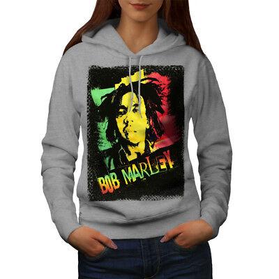 Humor Wellcoda Marley Cannabis Bob Womens Hoodie, Reggae Casual Hooded Sweatshirt